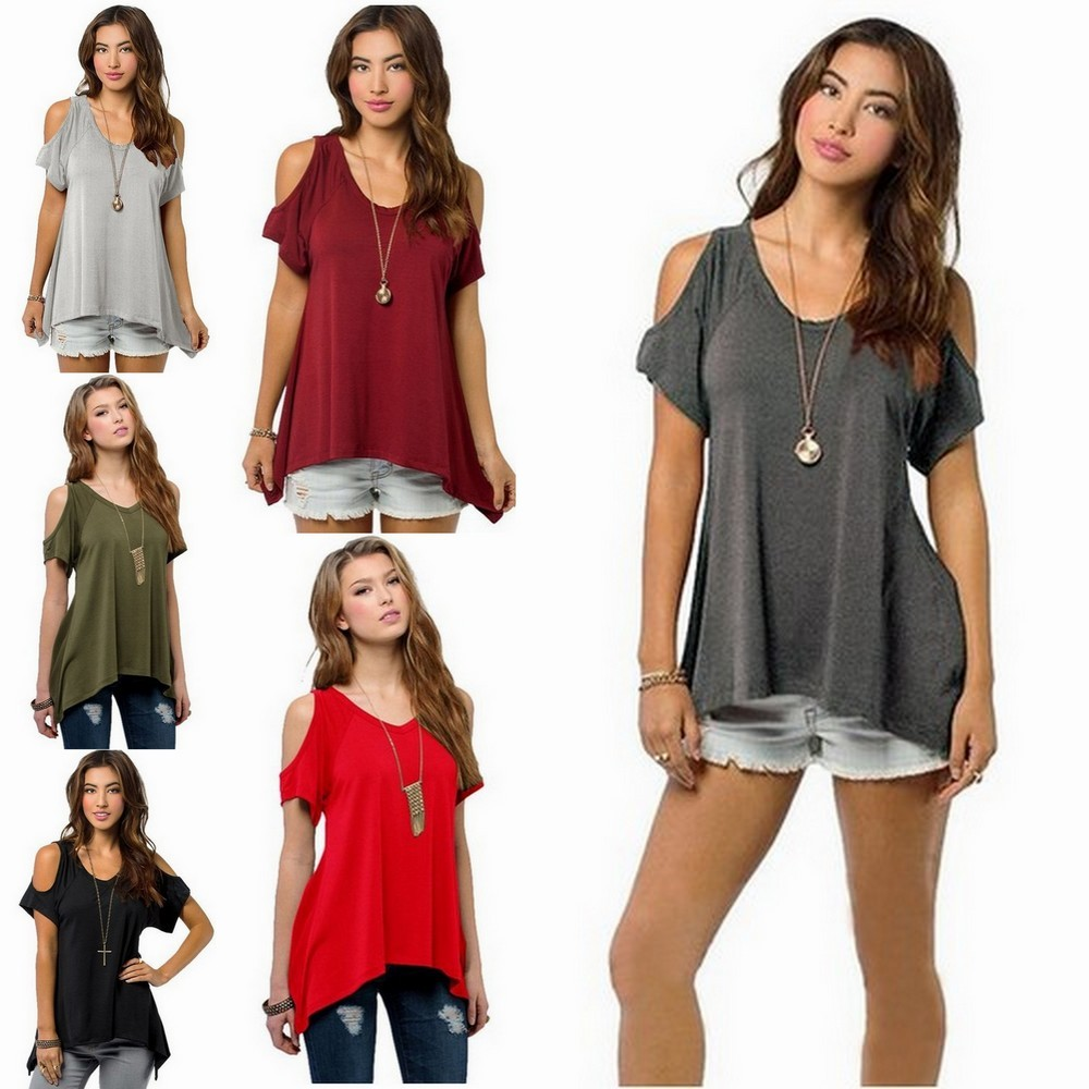 Smacktom Womens Summer Casual Off the Shoulder Short Sleeve Loose Cotton Tops Blouses T-Shirt - Army Greeen