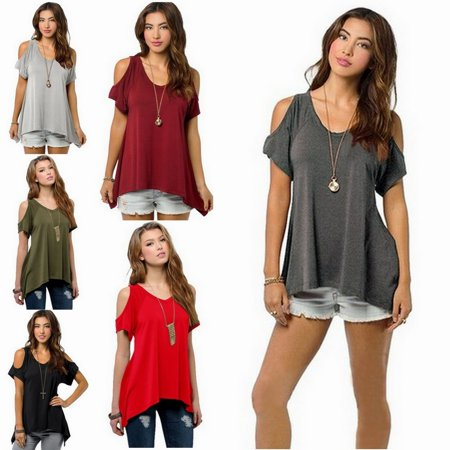 c3094498f4c425 SmackTom - Womens Summer Casual Off the Shoulder Short Sleeve Loose Cotton Tops  Blouses T-Shirt - Army Greeen - Walmart.com
