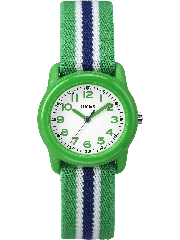 Timex Boys Time Machines Green/Blue Stripe Watch, Elastic Fabric Strap