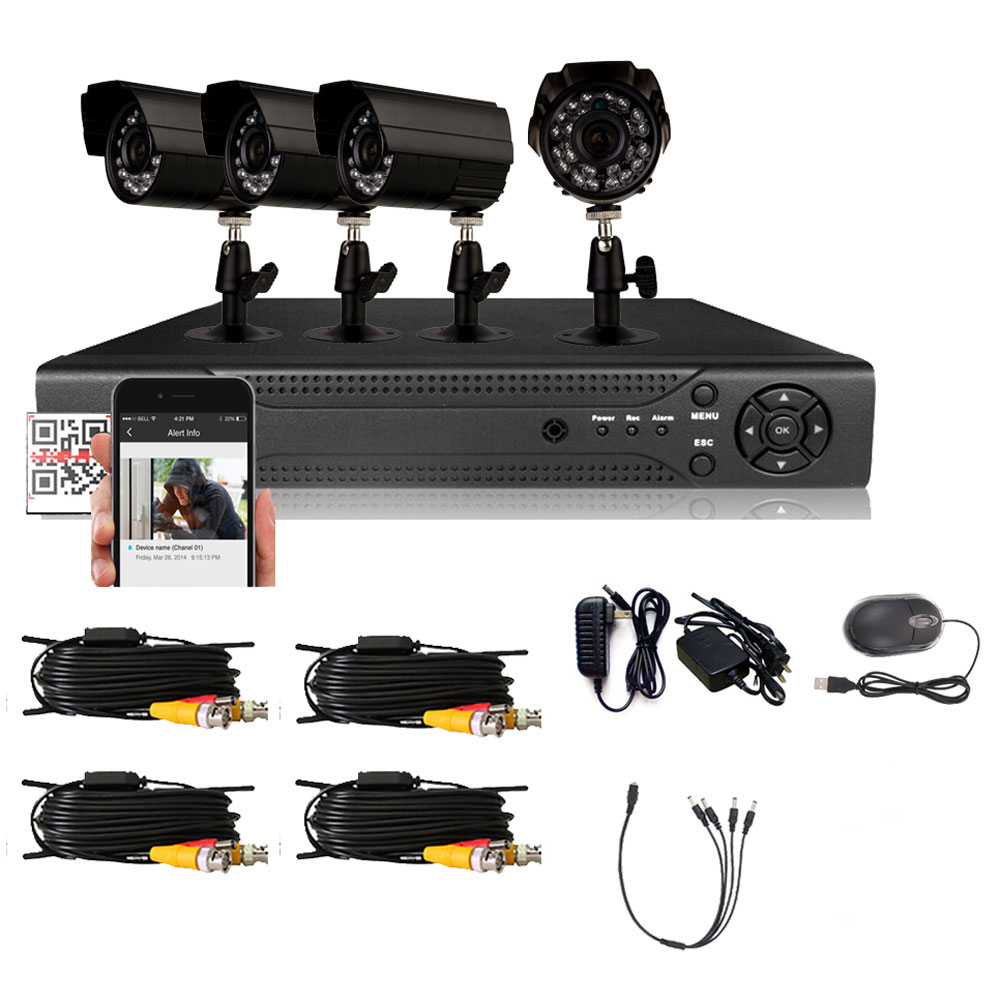Zimtown Outdoor 800TVL 4CH 960H HDMI CCTV DVR Home Security System Night Vision Camera Without Hard Drive