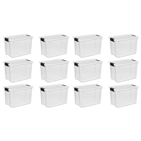 Sterilite 30 Quart Ultra Latch Storage Box w/ White Lid & Clear Base, 12 Pack](Clear Storage Bins)