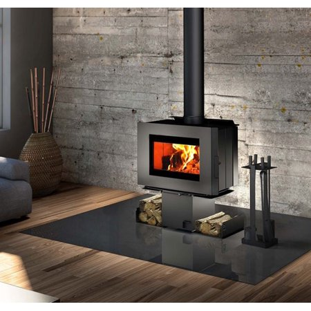 Soho Wood Stove w/Black Side Panels and Two Sided Pedestal ()