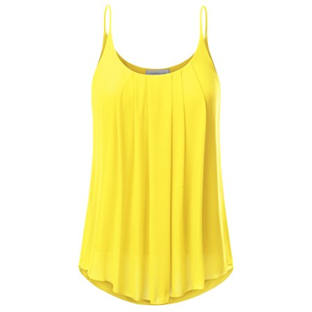 48c3fe78876 Doublju - Doublju Women s Sleeveless Hem Flowy Top Summer Camisoles Tank  Tops Camis YELLOW 2XL Plus Size - Walmart.com