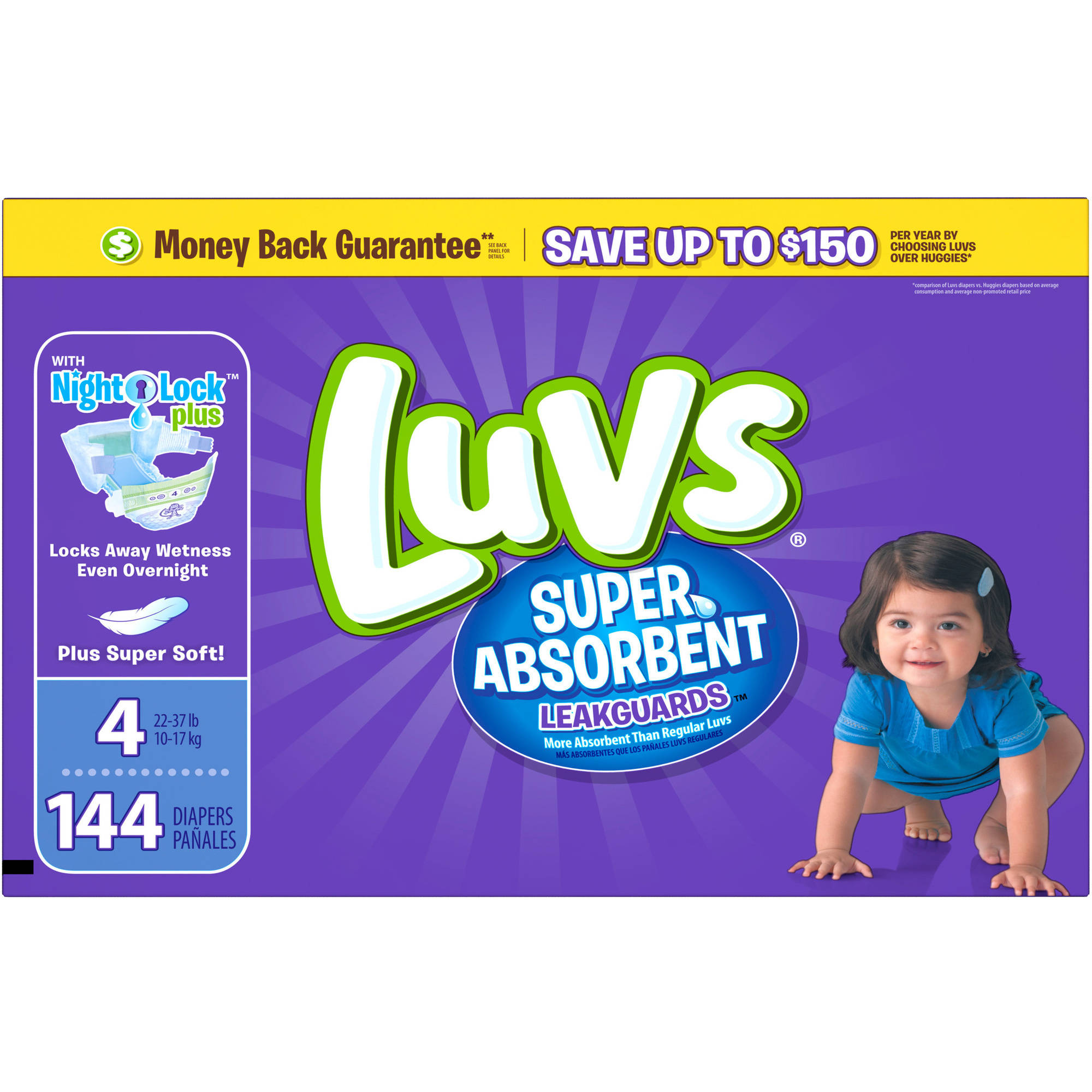 Luvs Super Absorbent Leakguards Diapers, Size 4, 144 Diapers ...