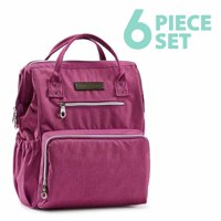 SoHo Backpack Diaper Bag, Wide Opening, Purple, 6 Piece Set