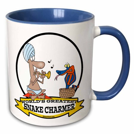 3dRose Funny Worlds Greatest Snake Charmer Cartoon - Two Tone Blue Mug, 11-ounce