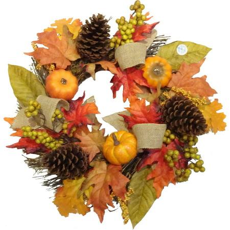 Pumpkin/Burlap Mixed Wreath