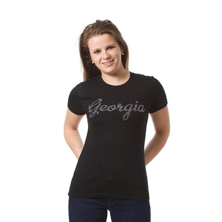 JH Design Women's Georgia Tee a Novelty Souvenir T-Shirt Decorative Rhinestone
