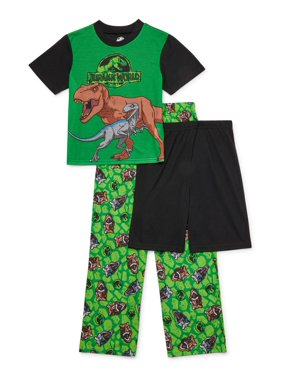 Jurassic World Boys 4-10 Exclusive Short Sleeve Top, Shorts & Pants, 3-Piece Pajama Set