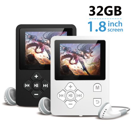 Portable MP3 Music MP4 Player with FM Radio Digital LCD Screen Support up to 32GB TF Card, Supports FM Radio, Voice Recording, TXT E-book and Pictures Browsing, with Earphone