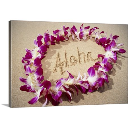 - Great BIG Canvas | Mary Van de Ven Premium Thick-Wrap Canvas entitled Hawaii, Purple Orchid Lei On Beach, Aloha Written In Sand