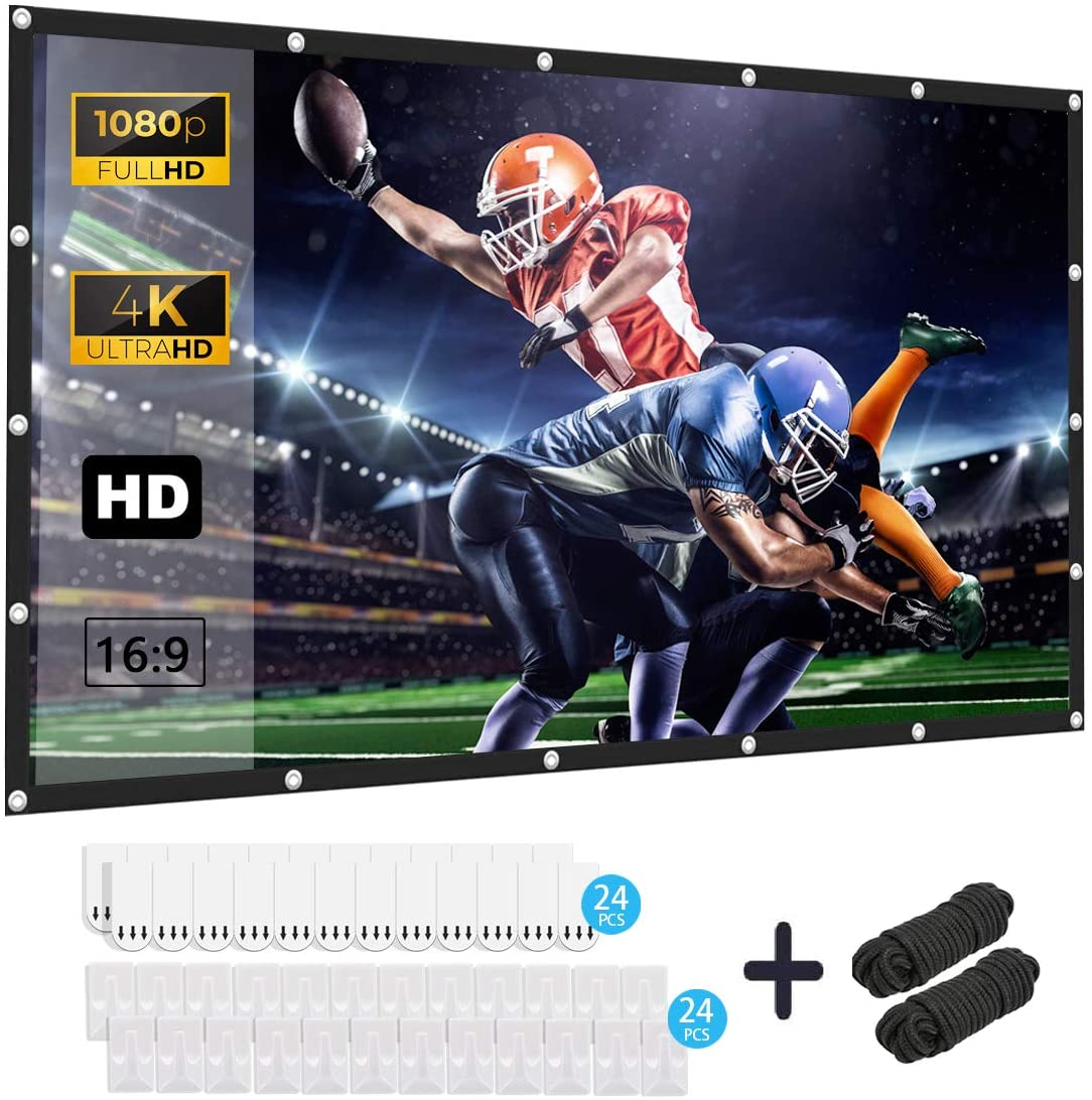 120 inch Projection Screen 16:9 4K HD Foldable Anti-Crease Portable 3-Layer Projector Movies Screen for Home Theater Outdoor Indoor Backyard Support Double Sided Projection