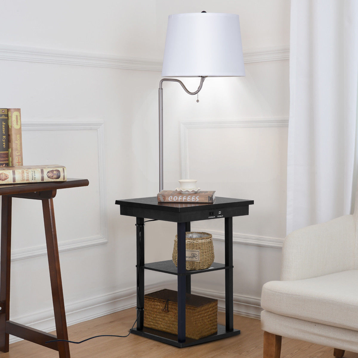 Gymax Floor Lamp Swing Arm Built In End Table W Shade 2 Usb Ports Living Room