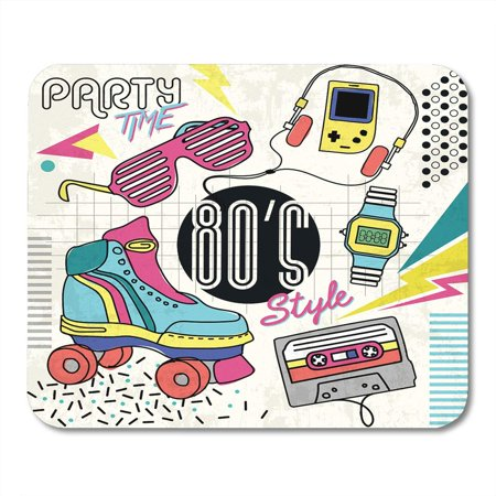 KDAGR Roller 80 Retro Colorful Vintage Graphic Eighties Easy Skate Glasses Mousepad Mouse Pad Mouse Mat 9x10 inch - Eighties Glasses