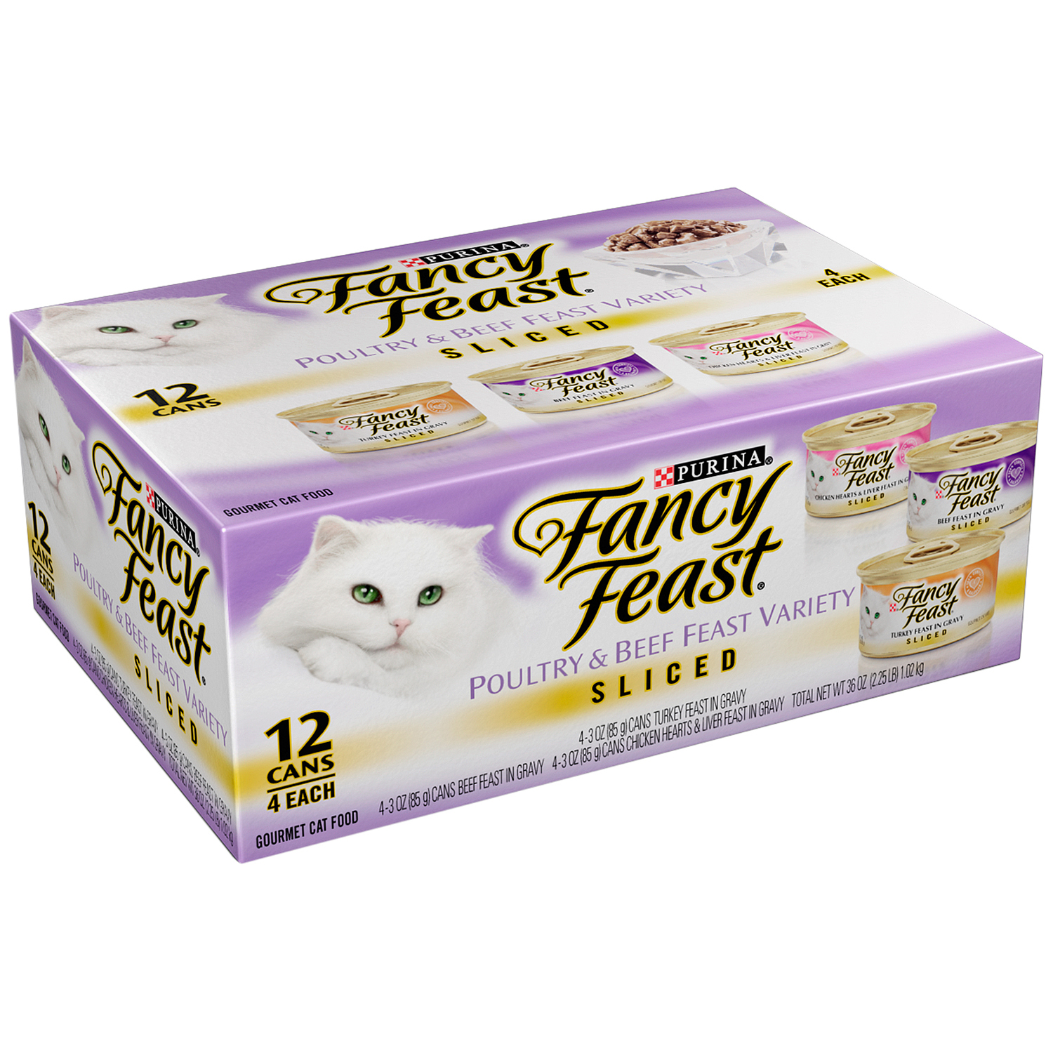 Purina Fancy Feast Sliced Poultry & Beef Feast Variety Cat Food 12-3 oz. Cans