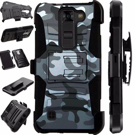 Only Camo (For LG K8V (Verizon Only) VS500 Case Heavy Duty Hybrid Armor Dual Layer Cover Kick Stand Rugged LuxGuard Holster (Gray Camo) )