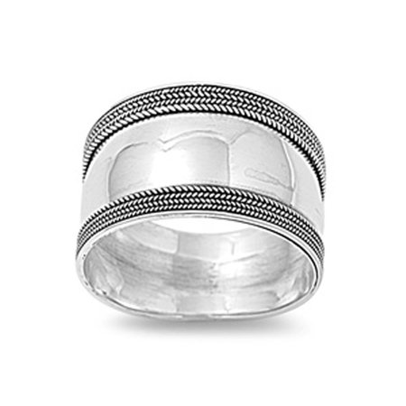 Sterling Silver Women's Bali Ring Wide 925 Band Rope Milgrain Look Size 5