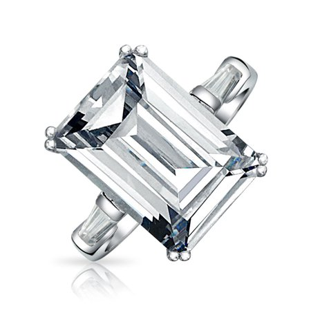 - Art Deco Style 10CT Solitaire Cubic Zirconia AAA CZ Baguettes 925 Sterling Silver Emerald Cut Statement Engagement Ring