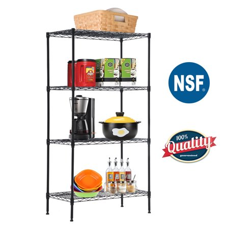 "4-Tier Wire Shelving Unit Steel Large Metal Shelf Organizer Garage Storage Shelves Heavy Duty NSF Commercial Grade Utility Storage Metal Layer Rack For Kitchen Office Garage 14""D x 24""W x 47""H,Black Large Heavy Duty Metal"