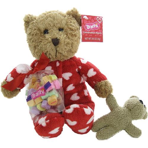 Galerie Pajama Bear & Dog with Brach's Conversation Hearts Valentine Gift Set
