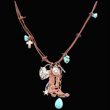 JUSTIN BOOT & LONGHORN BARBED LEATHER HAMMERED COPPER NECKLACE CHARMS LADIES