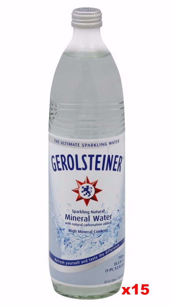 Gerolsteiner Naturally Sparkling Mineral Water, CASE (15 x 25.3 oz-GLASS) by