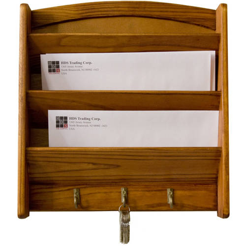 Home Basics Pine Letter Rack with Key Hooks by HDS TRADING CORP