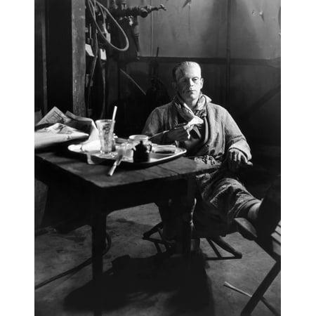 Frankenstein 1931 Nboris Karloff Still In Makeup As The Monster Having Lunch On The Stage Set Of Frankenstein 1931 Rolled Canvas Art -  (24 x - Frankenstein Makeup
