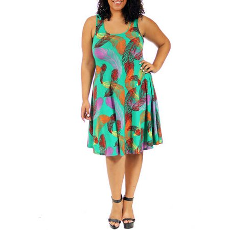 24/7 Comfort Apparel - Women\'s Plus Size Feather Print Sleeveless ...