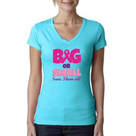 Big Small Save Them All Pink Ribbon Breast Cancer Awareness Womens Junior Vneck T-shirt Awareness Womens Pink T-shirt