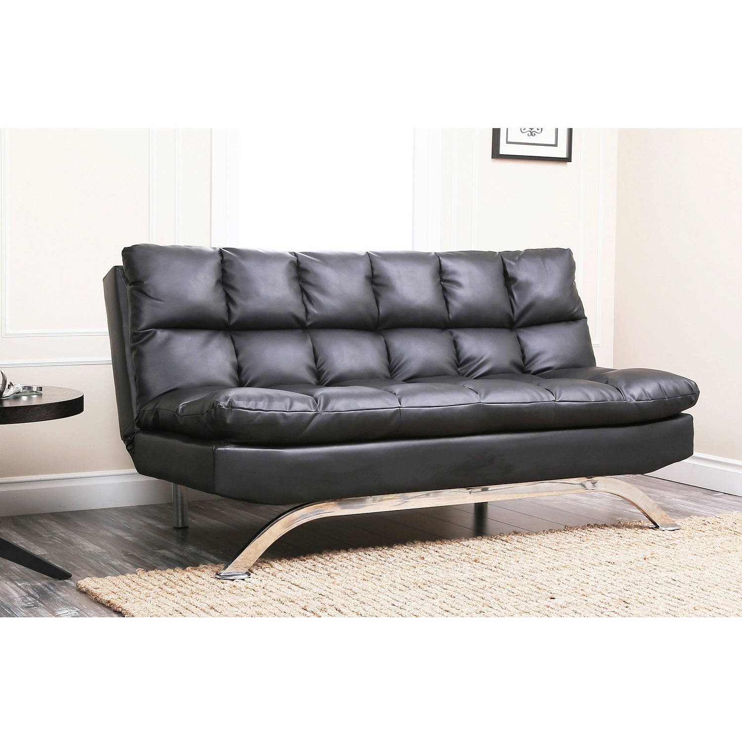 Devon & Claire Parma Black Leather Euro Lounger Sofa