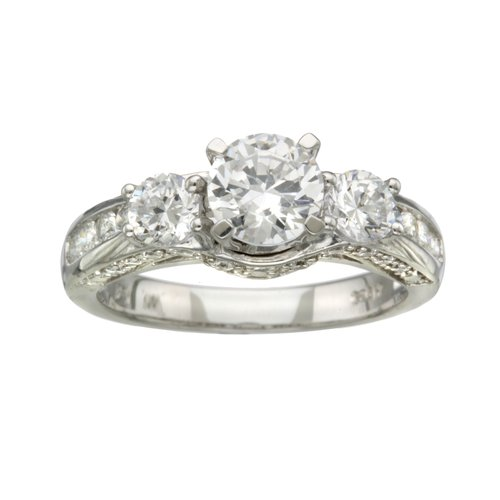 Sterling Silver  CZ Round 3 Stone Engagement Ring