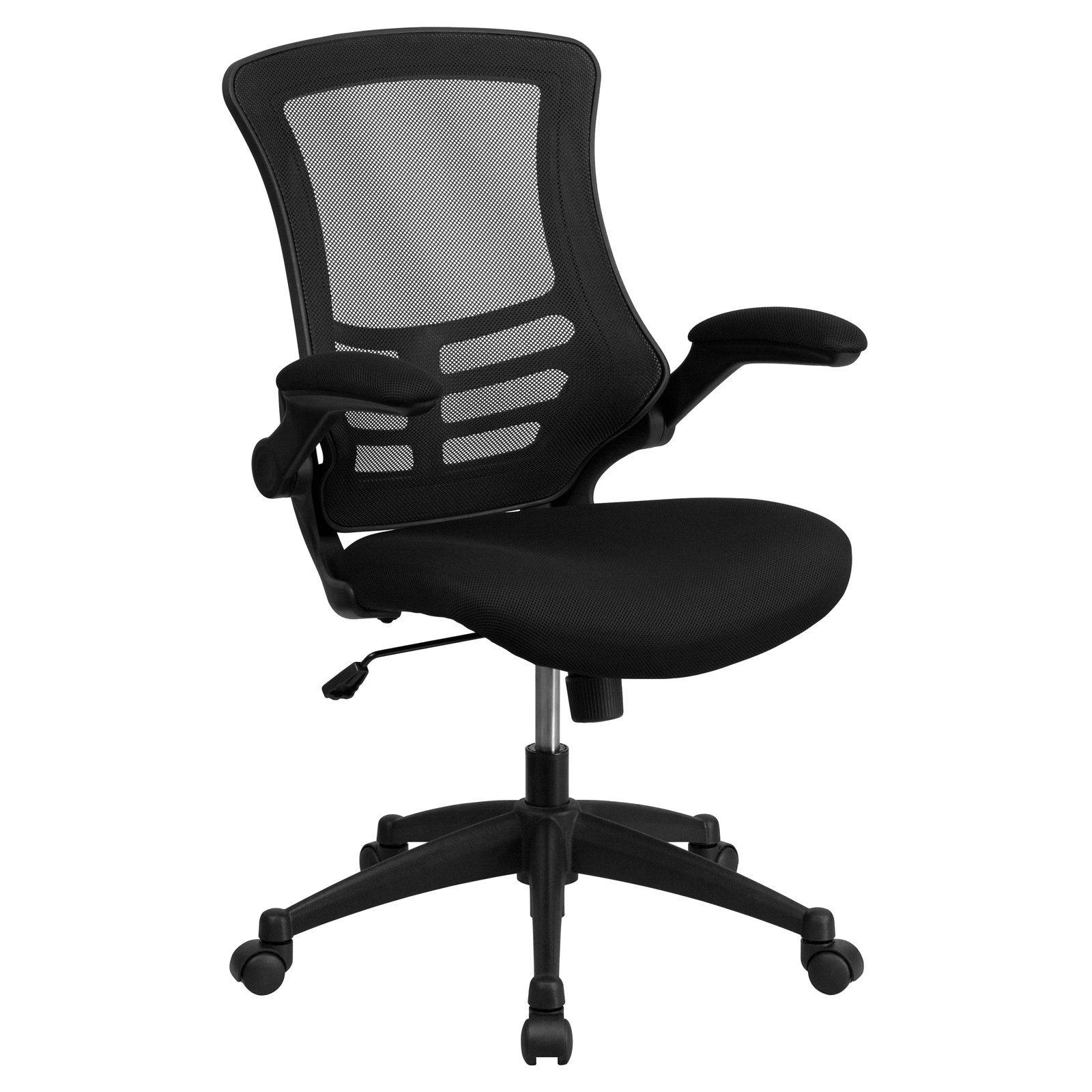 Flash Furniture Mid-Back Black Mesh Swivel Task Office Chair with Mesh Padded Seat and Flip-Up Arms