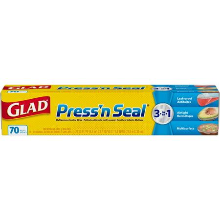 (2 pack) Glad Press'n Seal Plastic Food Wrap - 70 sq ft Roll (Press N Seal Freezer Wrap)