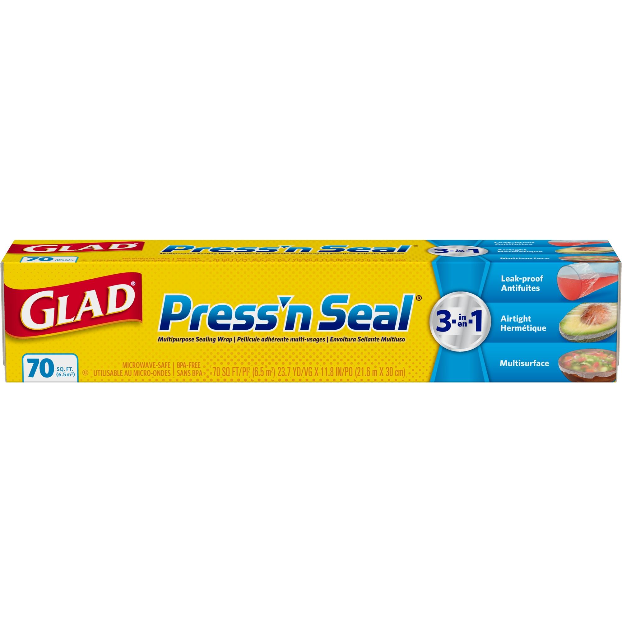 (3 pack) Glad Press'n Seal Plastic Food Wrap - 70 sq ft Roll