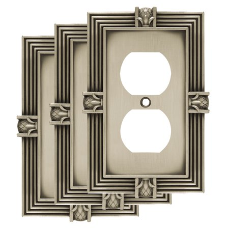 Franklin Brass Pineapple Single Duplex Wall Plate in Brushed Satin Pewter, (Pewter Sports Plates)