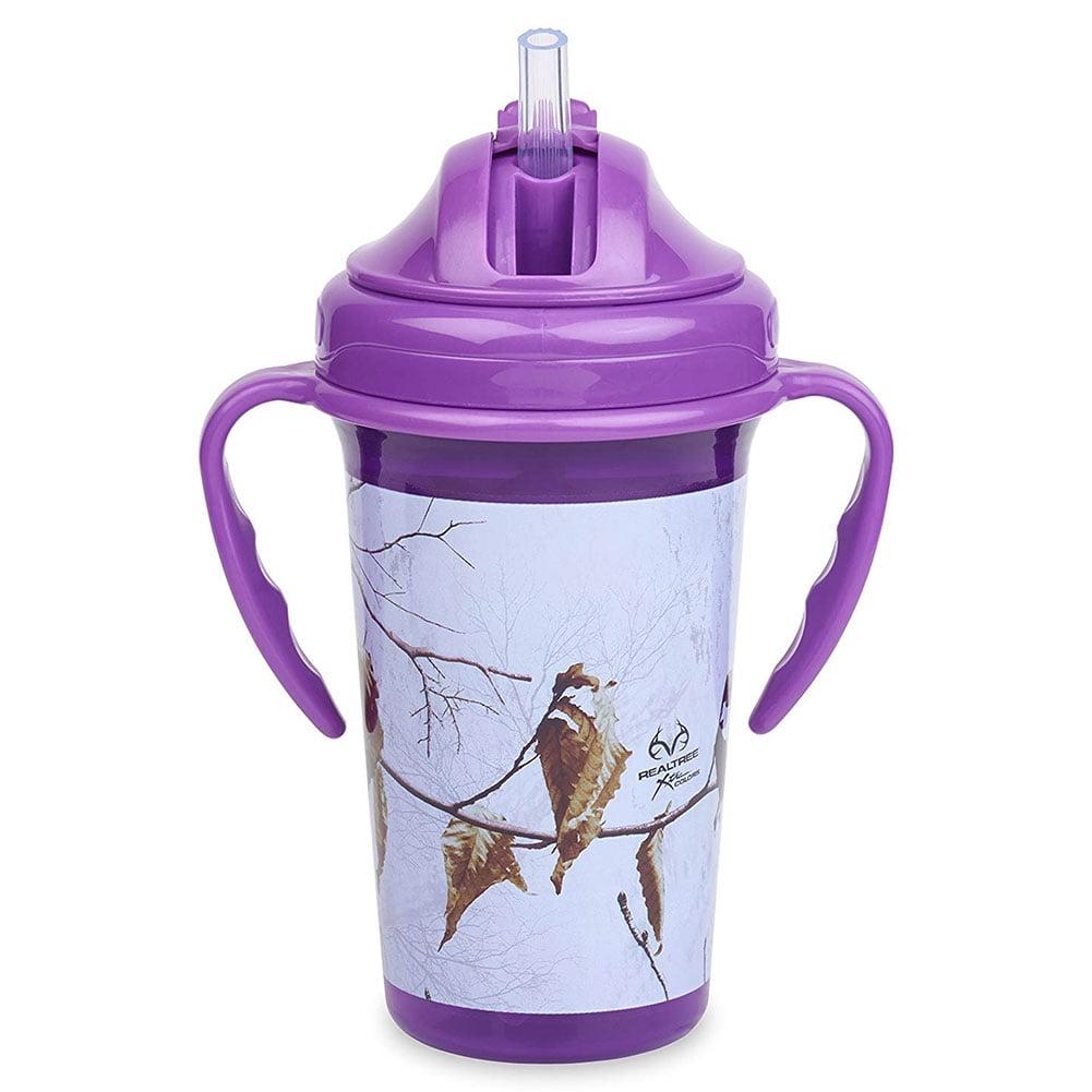 Copia RealTree Camo Xtra Colors Purple Straw Top Sippy Cup 10oz, with Handles