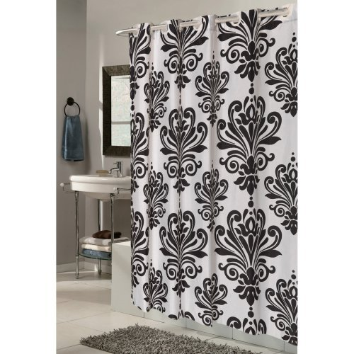 Carnation Home Fashions EZ On Grommet Damask Fabric Shower Curtain