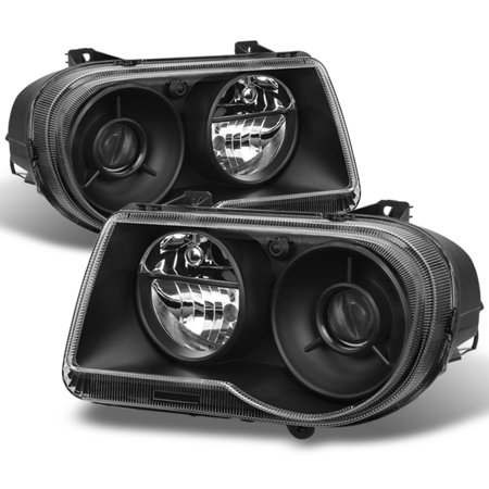Fit 2005-2010 Chrysler 300C Black Projecter Headlights 2006 2007 2008 2009