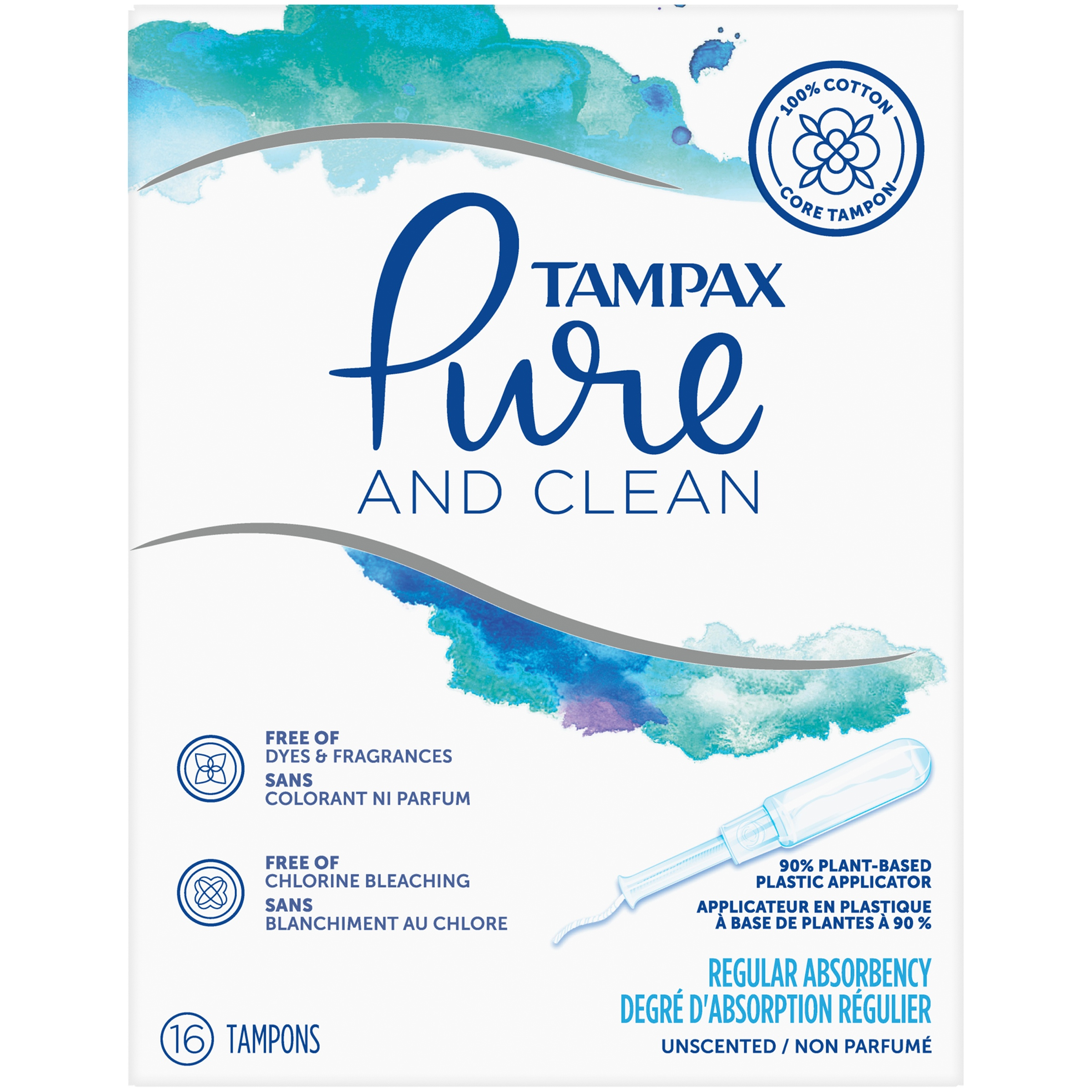 Tampax Pure & Clean Tampons with Plastic Applicator and 100% Cotton Core, Regular Absorbency, 16 Count