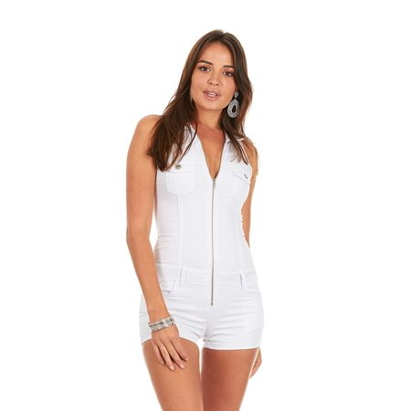 1619fb292c76 YDX Jeans - Cover Girl Denim Romper Jeans Shorts Zip Up Sleeveless Cute and  Sexy Junior Size L White - Walmart.com