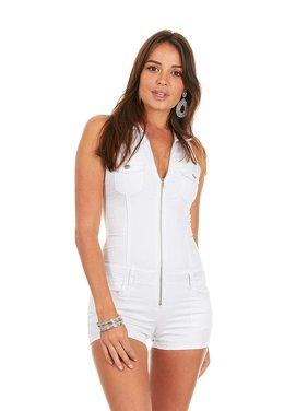 c306232d695a Product Image Cover Girl Denim Romper Jeans Shorts Zip Up Sleeveless Cute  and Sexy Junior Size L White