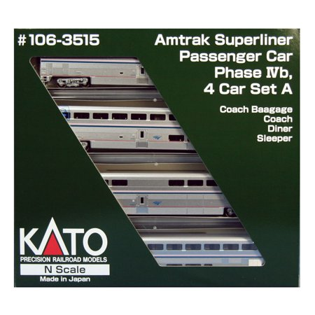 Amtrak Train (Kato 106-3515 N Amtrak Phase IVb  Superliner 4-Car Passenge Set)