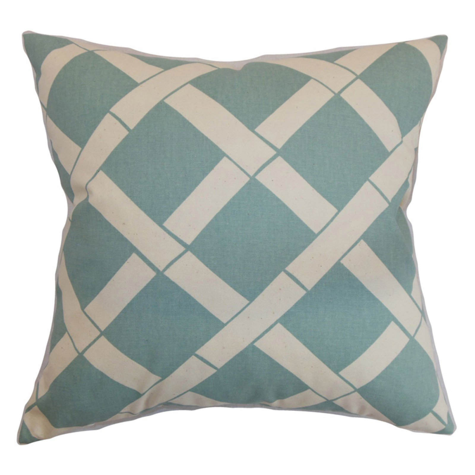 The Pillow Collection Marianske Geometric Pillow - Blue Natural