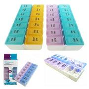 2 Packs Am Pm 7 Day Pill Box Organizer Medicine Tablet Daily Vitamin Case Holder