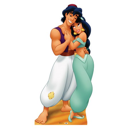 Aladdin and Jasmine Disney Prince Princess Life Size Cutout Stand Large Cardboard Cutout Party Prop Decor Birthday party Supplies, Disney Birthday decoration Size: 70