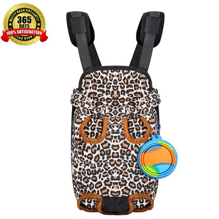 Pet Carrier Backpack for Small Dog Cat Puppy, Tail Out Front Chest Carrier Bag for Travel Outdoor Walking Hiking Cycling Camping, Wide Straps with Comfort Shoulder Pads Bonus Foldable Water - Bodum Bowls