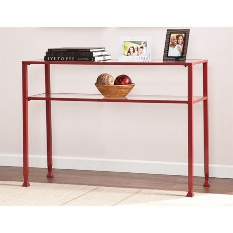 Southern enterprises glass top metal console table in red for Metal and glass console tables