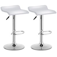 Costway Set Of 2 Swivel Bar Stools Adjustable PU Leather Backless Dining Chair White