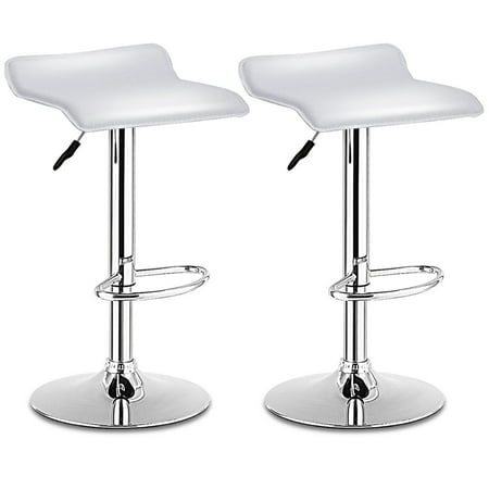 - Costway Set Of 2 Swivel Bar Stools Adjustable PU Leather Backless Dining Chair White
